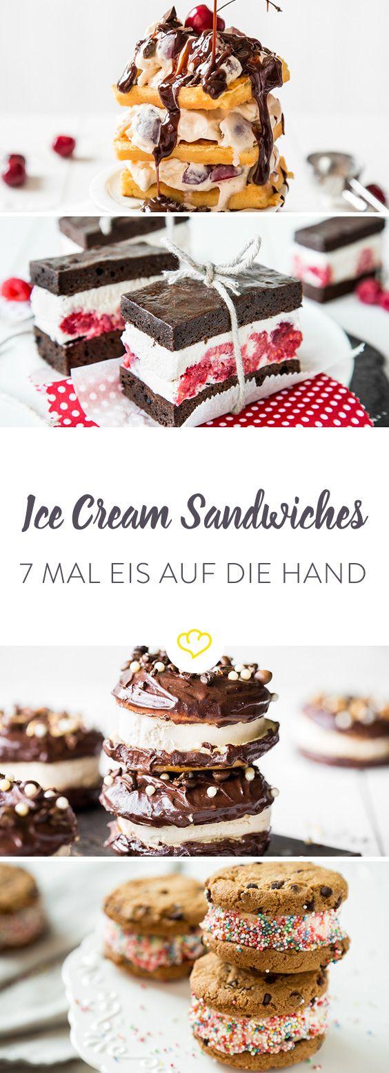 Domino-Eis war gestern. Jetzt gibt's Ice Cream Sandwiches mit verrückten Eissorten und statt pappigen Waffeln gibts Brownies, Cookies oder sogar Donuts.