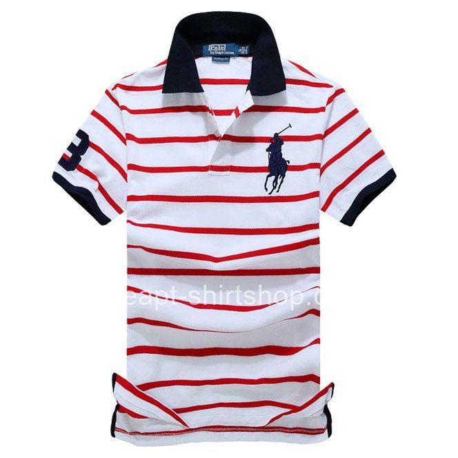 Mens Polo Ralph Lauren White/Red Stripe Shirts