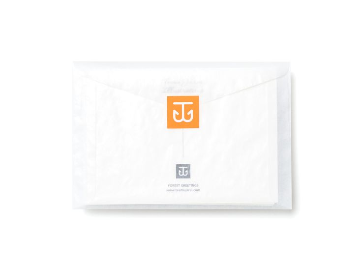 Teemu Järvi Illustrations Glassine Envelope with Fluorecent Orange Sticker for  Forest Greetings Postcards