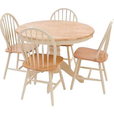 5-teiliges Esstisch-Set 'Yorki' aus Elfenbein