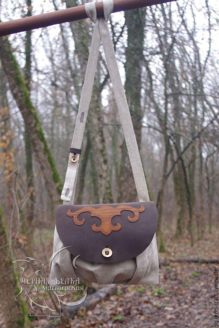Купить Сумка из холста и кожи - комбинированный, сумка, сухарка, ролевые игры, походная сумка