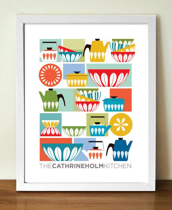 Mid century poster print CATHRINEHOLM KITCHEN by visualphilosophy, $29.00