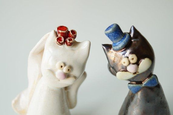 Wedding Cake Topper Cat Cake Topper Ceramic Cake by HerMoments