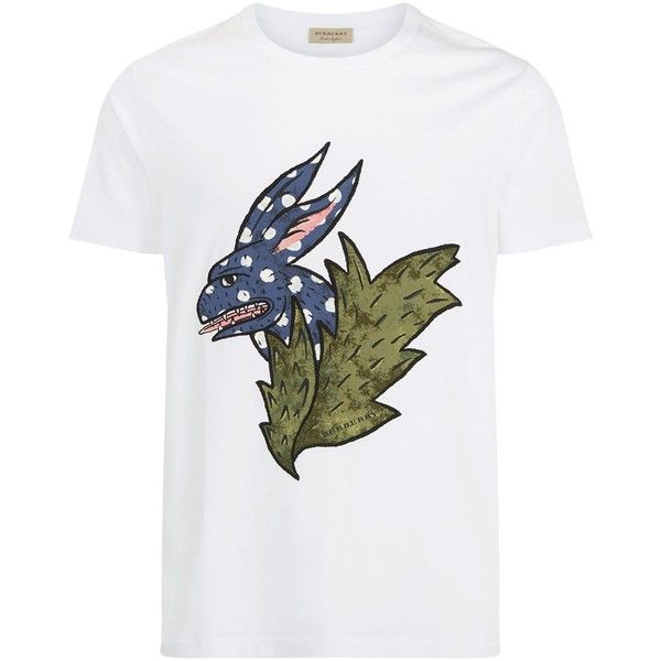 Burberry Oscar Rabbit Motif Cotton T-Shirt (320 CAD) ❤ liked on Polyvore featuring men's fashion, men's clothing, men's shirts, men's t-shirts, mens jersey shirts, mens cotton t shirts, mens short sleeve shirts, burberry mens t shirt and j crew mens shirts