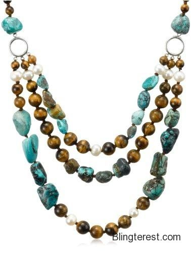 Tiger Eye, Turquoise and White Freshwater Cultured #Pearl Three-Row #Necklace, 19.5+4″ Extender #Jewelry http://blingterest.com/necklaces/other-necklaces/tiger-eye-turquoise-and-white-freshwater-cultured-pearl-three-row-necklace-19-54-extender-jewelry/