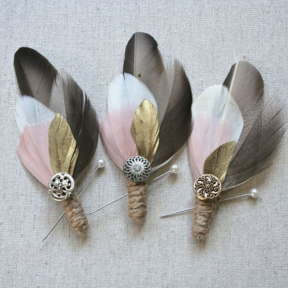 vintage feather boutonnieres - custom colors $18 each