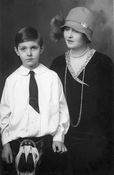 Lady Patricia Ramsay (nee Princess Patricia of Connaught) with her son, Alexander Ramsay of Mar.  Like her brother, Patricia had only one child, a far cry from her sister Margaret's 5.  In 1947 Alexander inherited Mar Lodge from his aunt, Princess Alexandra of Connaught, and became known thereafter as Alexander Ramsay of Mar.