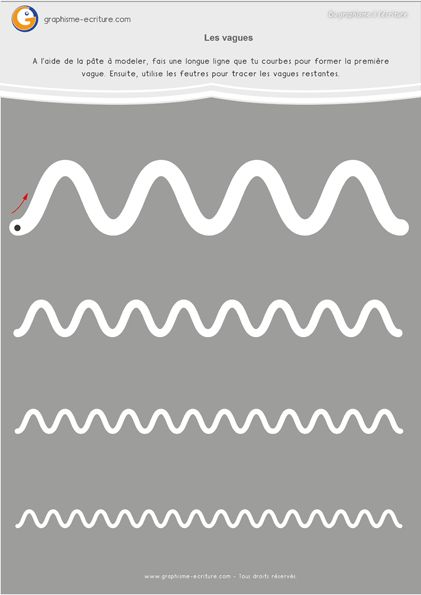 Graphisme Moyenne Section Les vagues – Fiche à plastifier pour apprendre le geste de la vague en Maternelle MS. Passage du doigt, pâte à modeler et feutres.