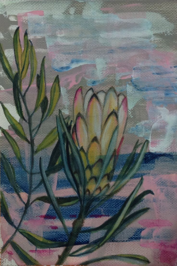 Protea by the seaside. Water colour panted on palette knife background.