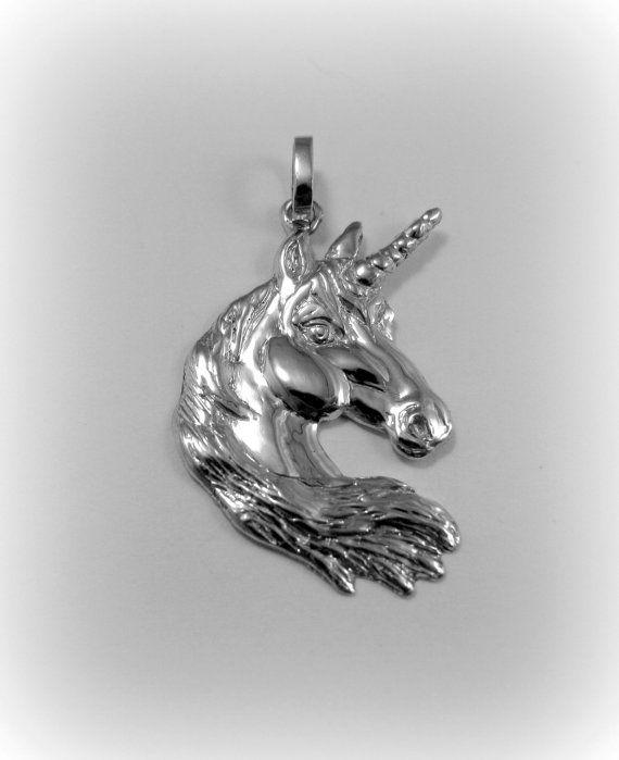 Silver unicorn pendant by Minicsiga on Etsy