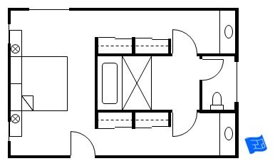 Master bedroom floor plan with the entrance straight into the bedroom.  Then there's walk through closets with sinks that flank a central bathroom. Click onto site for more analysis.