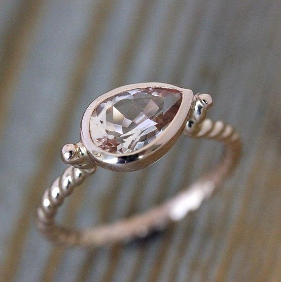 Morganite Pear Shaped Ring 14k Rose Gold Ring Nautical