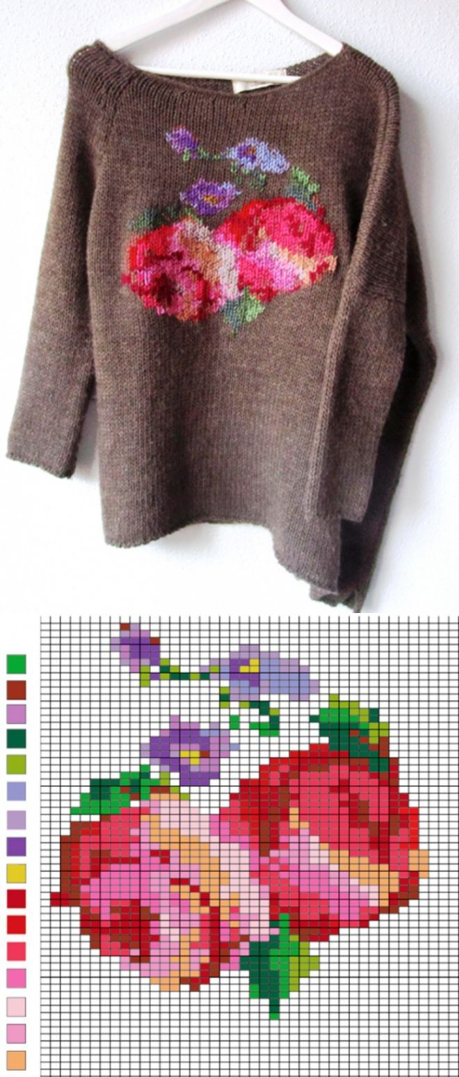 Knit sweater, cross stitch design on a sweater, brown sweater with red flowers, knitted sweater, floral cross stitch on sweater