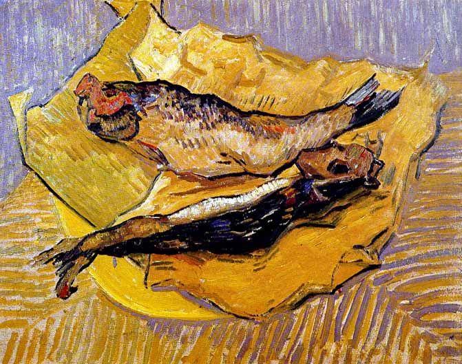 Vincent Van Gogh - Post Impressionism - Arles - Harengs fumés sur un morceau de papier jaune - 1889