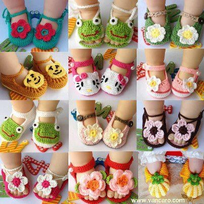 crochet .....Look at all these precious baby shoes.