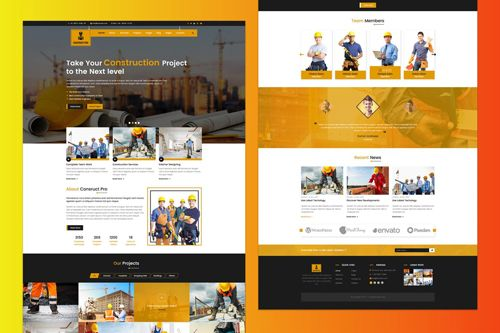 Construction Website PSD Template Free Download