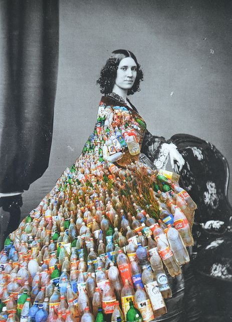 the old and the new all in one elegant dress made from #packaging bottles PD