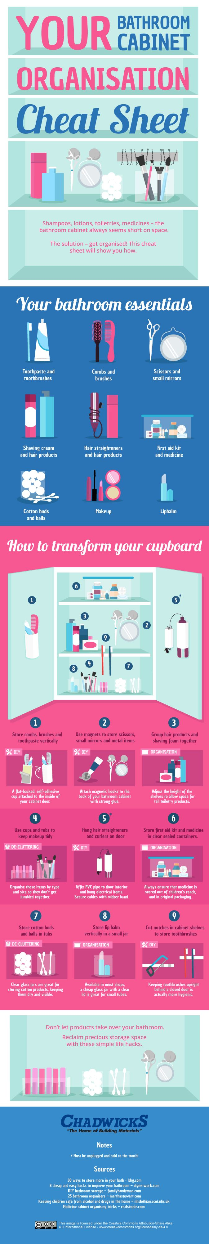 Tip: Adjust the height of the shelves in your bathroom cabinet to allow space for tall toiletries.
