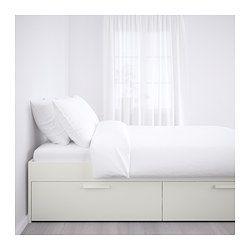 Brimnes Rama łóżka Z Szufladami Biały Luröy Mieszkanie