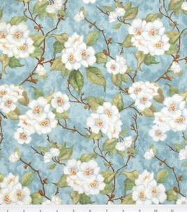 Susan Winget Fabric- Beautiful Blooms Apple Blossoms Blue