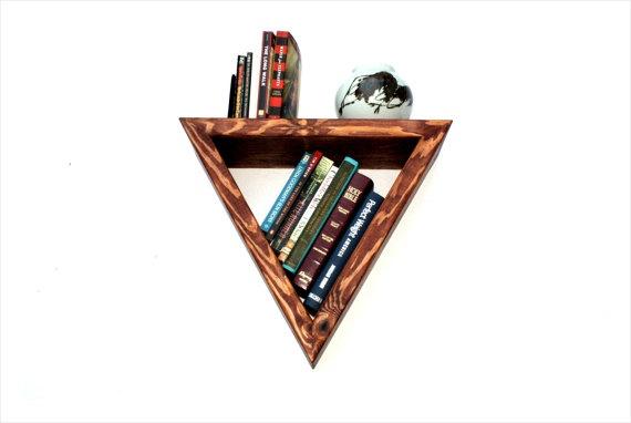floating triangle shaped wooden shelf