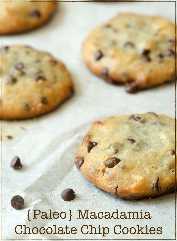 These Paleo Macadamia Chocolate Chip Cookies are soft & chewy. I also love that they are packed with healthy fats from macadamia nut butter and coconut oil.