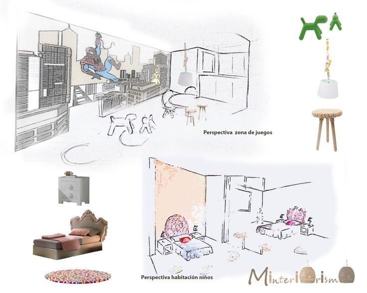 """Perspectiva zona de juegos y habitación infantil en """"Proyecto reforma vivienda ... La elegancia es cuestión de esqueleto"""""""