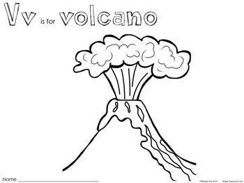 V Is For Volcano Coloring Page 1000+ images about Vol...