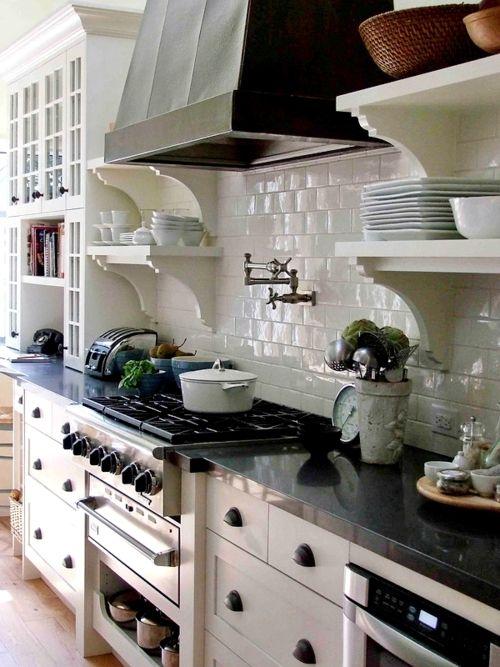 Black & white kitchen, subway tiles, open shelves; Carol Reed Design: Stove, Kitchens Design, Open Shelves, Pots Fillers, Hoods, Black Kitchens, White Subway Tile, White Cabinets, White Kitchens
