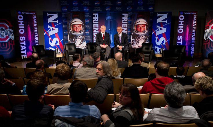 Sen. John Glenn, left, and NASA Administrator Charles Bolden speak to guests at NASA's Future Forum at Ohio State University on Monday, Feb. 20, 2012, in Columbus, Ohio. Today marks the 50th anniversary of Glenn's historic flight. Glenn was the first American to orbit Earth.