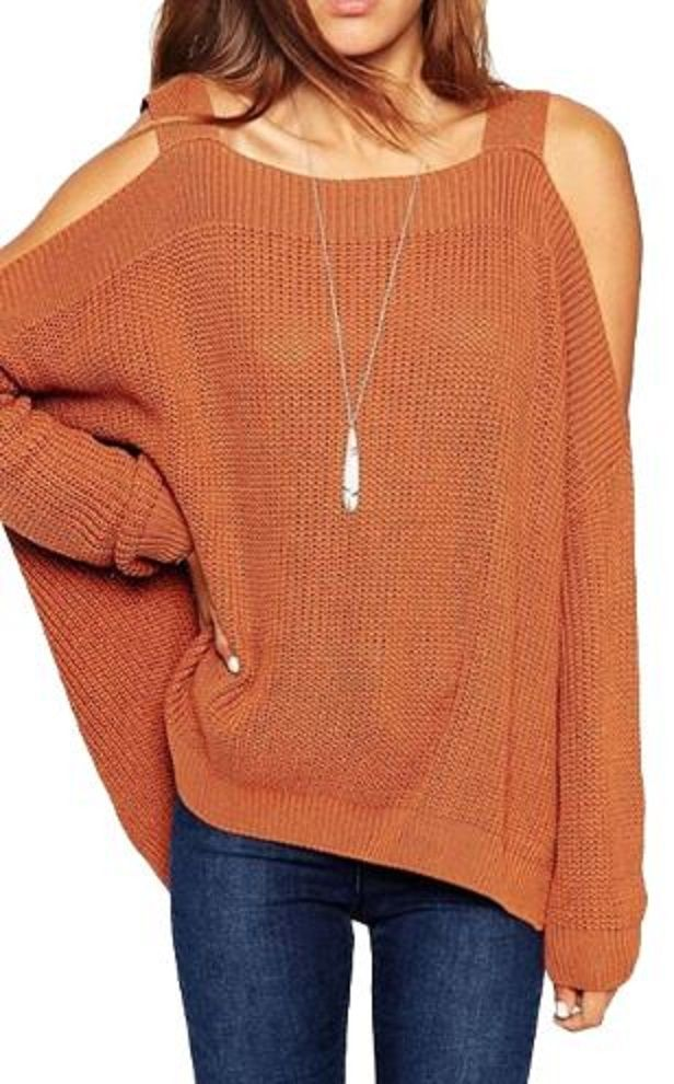 Strappy Autumn Solid Color Hollow Out Long Sleeve Sweater