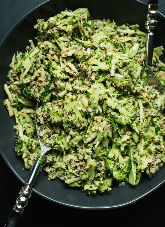 Quinoa Broccoli Slaw with Honey Mustard Dressing by cookieandkate #Salad #Slaw #Broccoli #Quinoa #Basil #Lemon #Mustard #Almonds #Garlic #Vinegar #Healthy