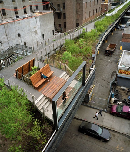 The High Line seating - the elevated park/Utopian urban playground