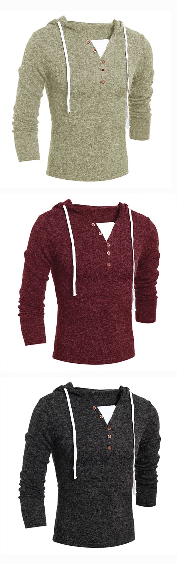 Mens Casual V-neck Buttons Knitted Hooded Sweater