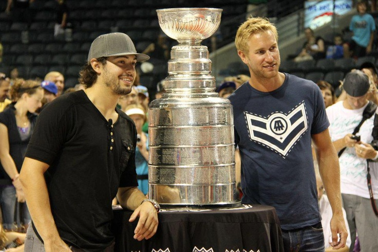 Los Angeles Kings Drew Doughty and Jeff Carter with the Stanley Cup in London, Ontario Canada