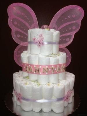 Butterfly diaper cake designs: Unique & Original Diaper Cakes is located in Orlando, Florida where every diapercake is designed to a theme of your choice and/or you can pick from some