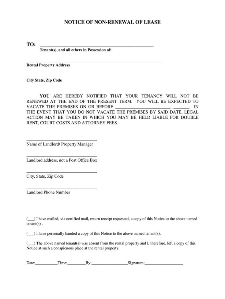 Printable Notice Of Lease Non Renewal Template Doc Example In 2021 Contract Renew Lettering