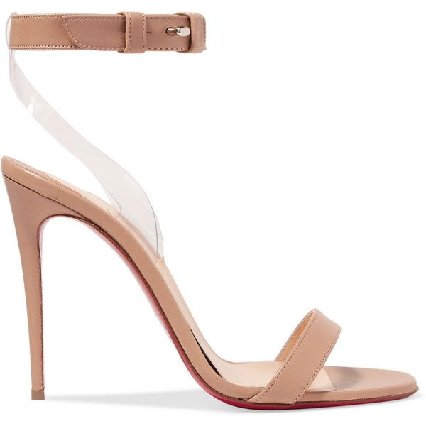 Christian Louboutin Jonatina 100 PVC-trimmed leather sandals ($835) ❤ liked on Polyvore featuring shoes, sandals, neutral, nude sandals, christian louboutin sandals, clear sandals, leather ankle strap sandals and high heels sandals