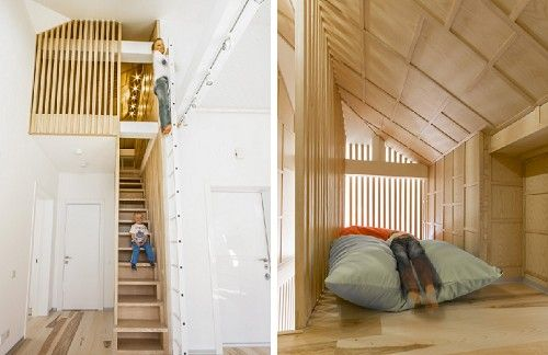 An apartment with a section designed for the kids, designed by Ruetemple in Russia. Left - stairs + ladder to loft. Right - loft.