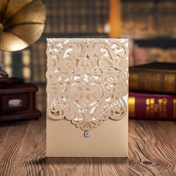 50pcs Gold Lace Wedding Invitation; Pocket Golden Wedding Invitation Cards; Birthday Invitation / Ship Worldwide 3-5 Days -- Set of 50 Pcs