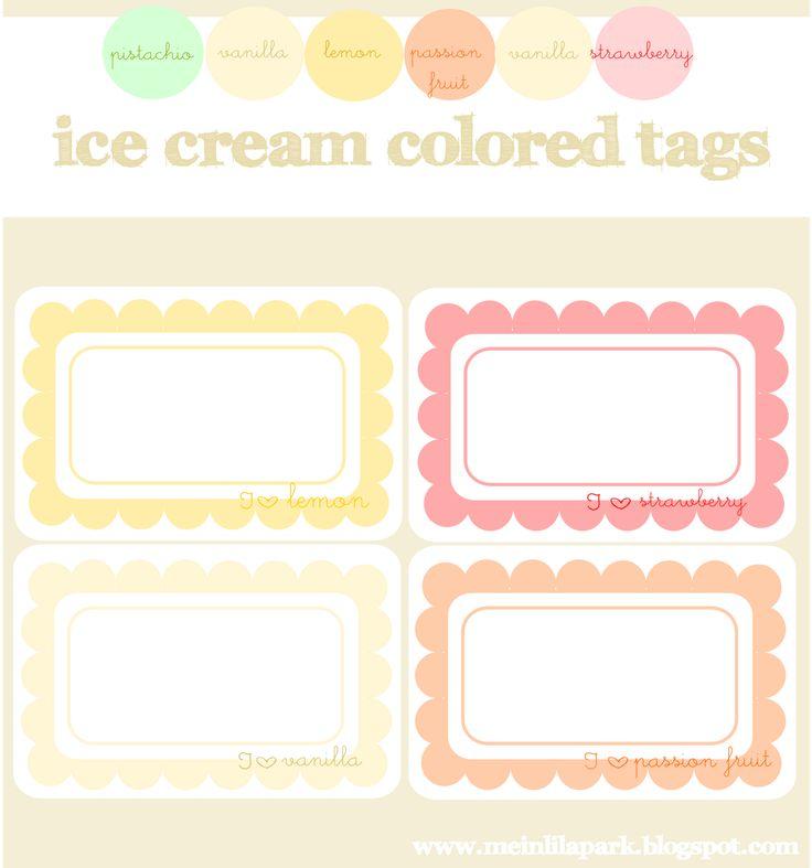 MeinLilaParkJolie Étiquettes, Scallops Tags, Cream Colors, Ice Cream, Free Digital, Digital Freebies, Digital Ice, Free Printables, Colors Scallops
