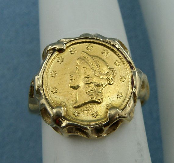 1853 Liberty Head 1 Dollar Gold Coin Ring,Size4.75-14K Gold Mount, SKU R-1735