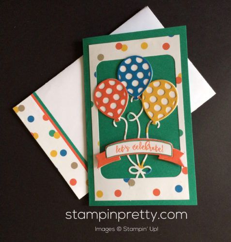 Balloon Adventures Photopolymer Stamp Set & Balloon Pop-Up Thinlits Dies birthday card.  Mary Fish, Stampin' Up! Demonstrator.  1000+ StampinUp & SUO card ideas.  Read more http://stampinpretty.com/2016/11/lets-party-with-new-balloon-adventures.html