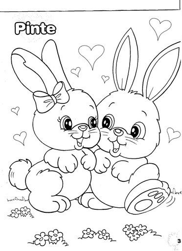 bunnies coloring page - Easter Coloring Pictures