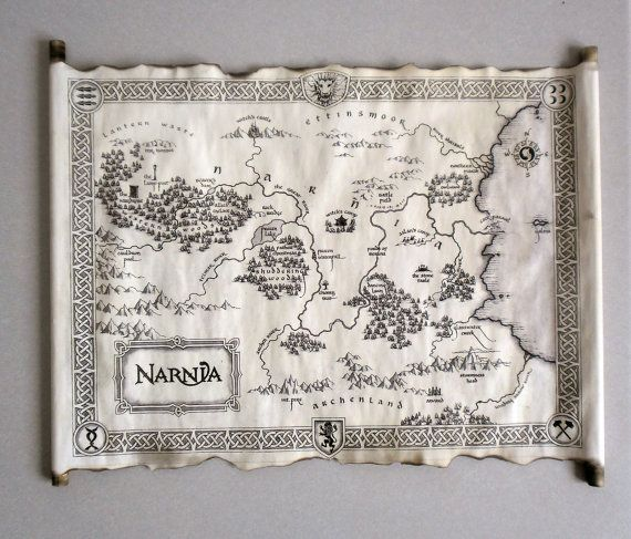 This item is handcrafted but the image on paper is print. Image represents Map of Narnia from famous C. S. Lewis books The Chronicles of Narnia and movies The Lion, the Witch and the Wardrobe, Prince Caspian and The Voyage of the Dawn Treader. This is newly handmade scroll and edges of paper and wood ends are slightly burnt. Because of that each scroll is a little bit different than it looks in the picture, and because of that unique. This scroll is the perfect gift for Narnia fans. Paper…