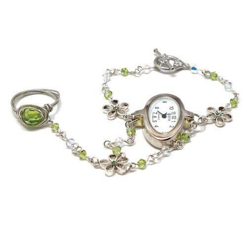 Bracelets with ring   Slave Bracelet Watch with Ring Attached Peridot Crystals and Flowers ...