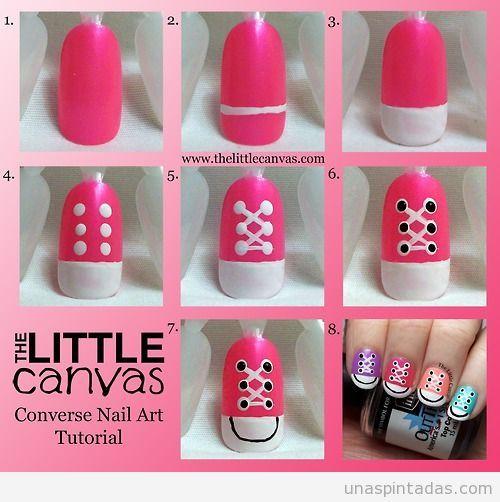 Cómo dibujar unas zapatillas Converse en tu diseño de uñas, paso a ...