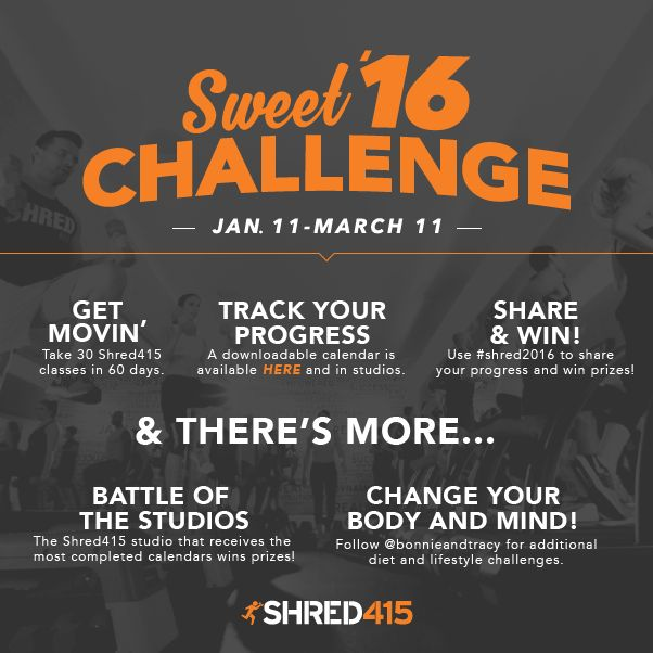 If it doesn't challenge you, it doesn't change you. Commit to the Shred415 60-day challenge, commit to our daily goals and commit to YOU in 2016. Your future self will thank you.