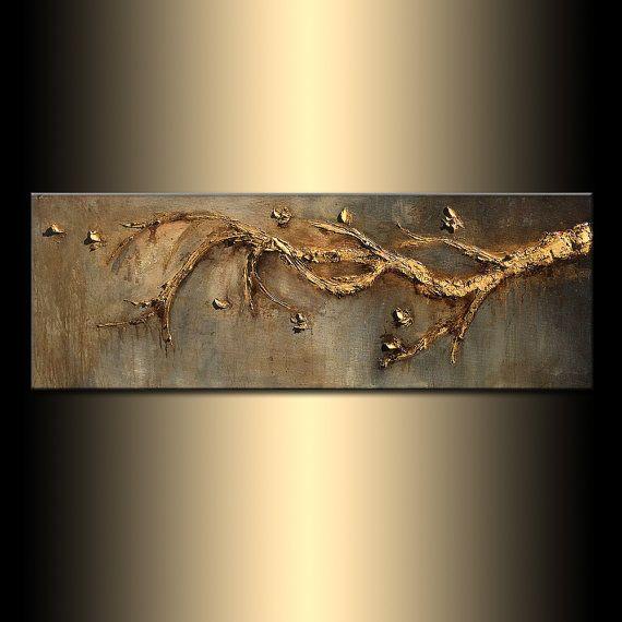 Originele hedendaagse rijk getextureerde moderne Metallic goud Tree Branch abstracte schilderkunst door Henry Parsinia 48 x 18  TITEL: ZIEL ZOEKEN GROOTTE: 48 X 18 X 1,58   (HIGH GLOSS FINISH, RIJKE TEXTUUR, METALLIC)  DE REFLECTERENDE KARAKTER VAN METALLIC DEZE KUNST ZIET ER MEEST DRAMATISCHE MET GOEDE VERLICHTING  Dit hedendaagse moderne abstracte schilderij is geschilderd op gallery gewikkeld zure gratis canvas. Alleen goede kwaliteit kunst materialen zijn gebruikt. randen zijn nietje…