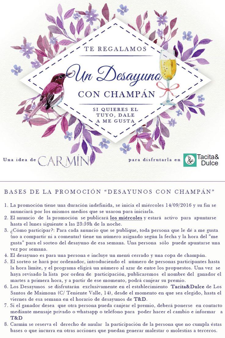 #TiendaCarmin te regala un desayuno con champán. mira las bases y sigue la promoción en https://www.facebook.com/tiendacarmin/